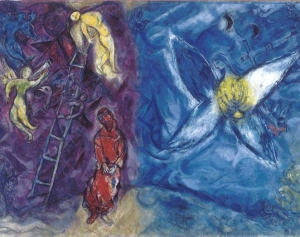 "The Victory of Prophetism. ""You fought against men and God, and you won, therefore your name is no longer a mere  blood tie but rather attests to the Spirit of Freedom, the Magic of freedom, as well as to the Son - Father - Mother of the whole universe. - Picture: Marc Chagall: Jacob's dream  (1960-1966). The painting can be divided into two parts, on the left, Jacob dreams of a ladder with descending angels, a symbol of Divine Providence; conversely, on the right, it is possible to see the Angel bearer of LIGHT. The synergy with the ""Doppelgänger"" supports the poor in spirit who are tired of fighting a winning match against the powerful, ... a communion with the Light, which ensures victory..."