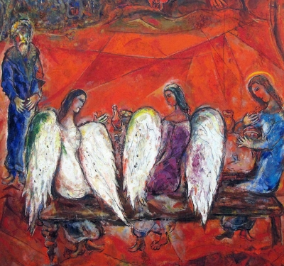 "Picture: M. Chagall  - Abraham and the Three Angels (1960-1966.) Abraham meets three mysterious heavenly messengers, then he says: ""In this city there are perhaps 50, 45, 40 honest people, ""10"" righteous people are enough to save a damned city ... the ""guilty people"" will continue to live ..."" a biblical reference which helps us understand that the true majority of a population is not based on statistical data but rather on its qualities. The true representatives of the populations should be their best citizens; they are the ""true majority"", since they embody the past, present and future ""majority""."