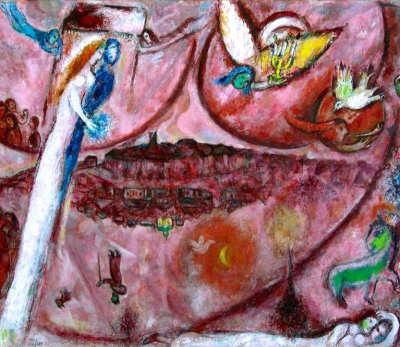 "Picture:  Marc Chagall - The Song of Songs III 1960. The Return of the Promised Land. Two persons rise upwards towards the point indicated by an angel bearer of light, and two cities (the material and spiritual world) can be seen in the middle. In the inverted city, there is a dome with a cross and a pilgrim. ""After the expulsion from the Garden of Eden, men return to the Promised Land."""